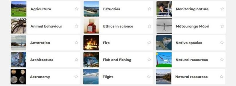 The new-look Science Learning Hub site - resources grouped by Topics.