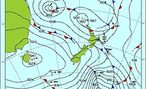 New Zealand weather map used to read atmospheric pressure.