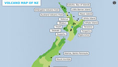 Volcano map of New Zealand.